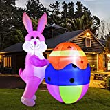 YIHONG 8Ft Easter Inflatables Bunny with Egg, Outdoor Indoor Easter Holiday Decorations, Yard Lawn Inflatables Decor with LED Lights