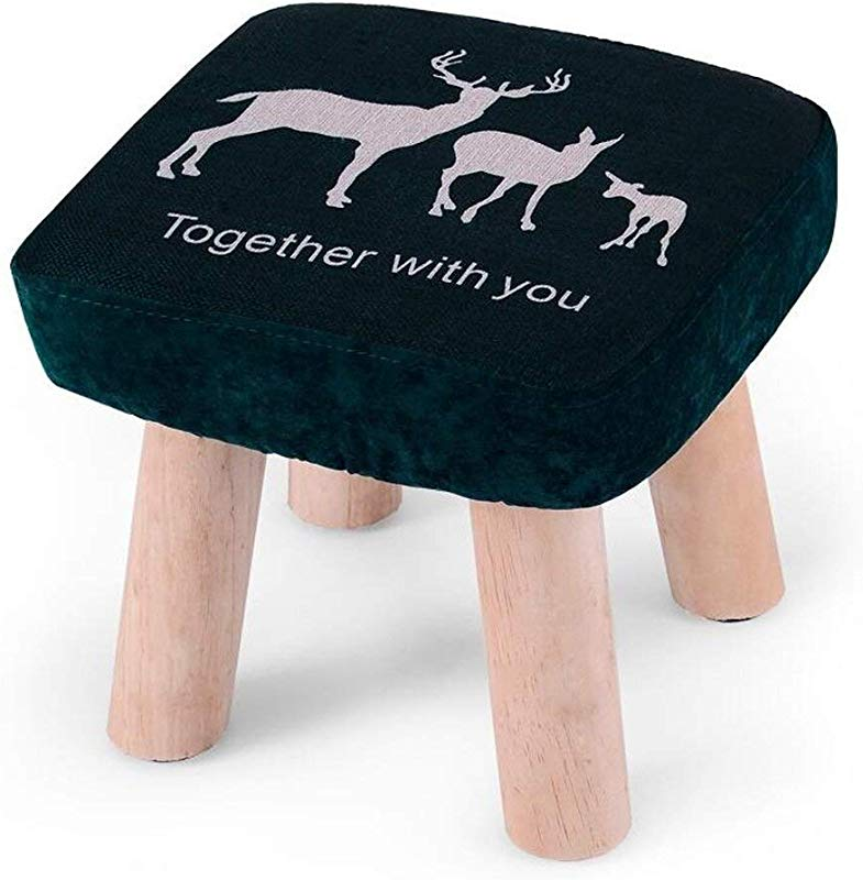 Carl Artbay Wooden Footstool Dark Blue Fawn Pattern Square Stool Small Bench Shoe Short Stool Solid Wood Fabric Home