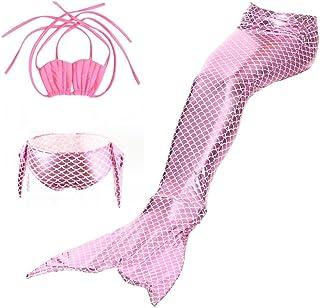 Yosoo 3 Piezas Chicas Traje de baño Bikini Set Sirena Fishtail Natación Disfraz Pantie Esta monoaleta Aletas Trajes de baño para niñas