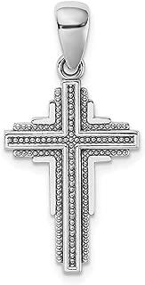 Lex & Lu 14k White Gold Beaded Cross Pendant