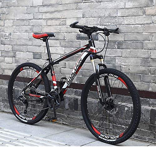 WANG-L Mountain Bike per Uomo Donna 24/26 Pollici Full Suspension off-Road velocità Variabile Bicicletta da Corsa Leggero Adulto Teenager,Red-24speed/26inches