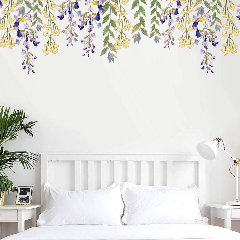 LiveGallery Creative 3D Removable Purple Dandelion with Flying Dragonfly Wall Decal DIY Peel and Stick Decor Wall Sticker for Kids Bedroom Girls Nursery Teens Room Living Room Wall Corner Decoration