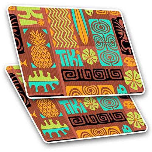 Awesome Rectangle Stickers (Set of 2) 10cm - Cool Tiki Hawaii Surfboard Surfer Fun Decals for Laptops,Tablets,Luggage,Scrap Booking,Fridges,Cool Gift #12891
