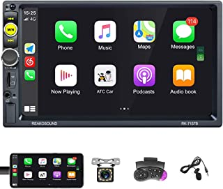 $86 » Double Din Stereo 7 Inch Touch Screen Car Stereo D-Play Radio with Bluetooth, FM Radio Receiver, Aux/TFCard/USB Input, Mir...