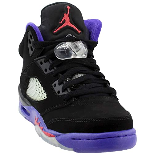 8c444019c33 Jordan Kid's Air 5 Retro GS, BLACK/EMBER GLOW-FIERCE PURPLE, Youth