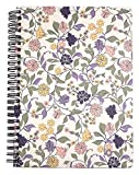 Steel Mill & Co Cute Floral Mini Spiral Notebook, 8.25' x 6.25' Journal with Durable Hardcover and 160 Lined Pages, Purple Vine Ditsy