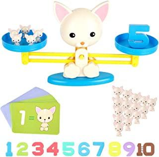 Counting Toys ,Animal Toys Puppy Weighing Scale Montessori Educational STEM Math Counting Games & Balance Measuring Fun Gift for Girls & Boys Kids Age 3-5-6(Pink-Puppy)