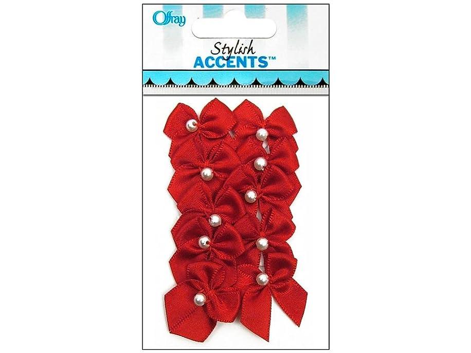 Offray Sa Bow Pearl Accessory Ribbon, Red