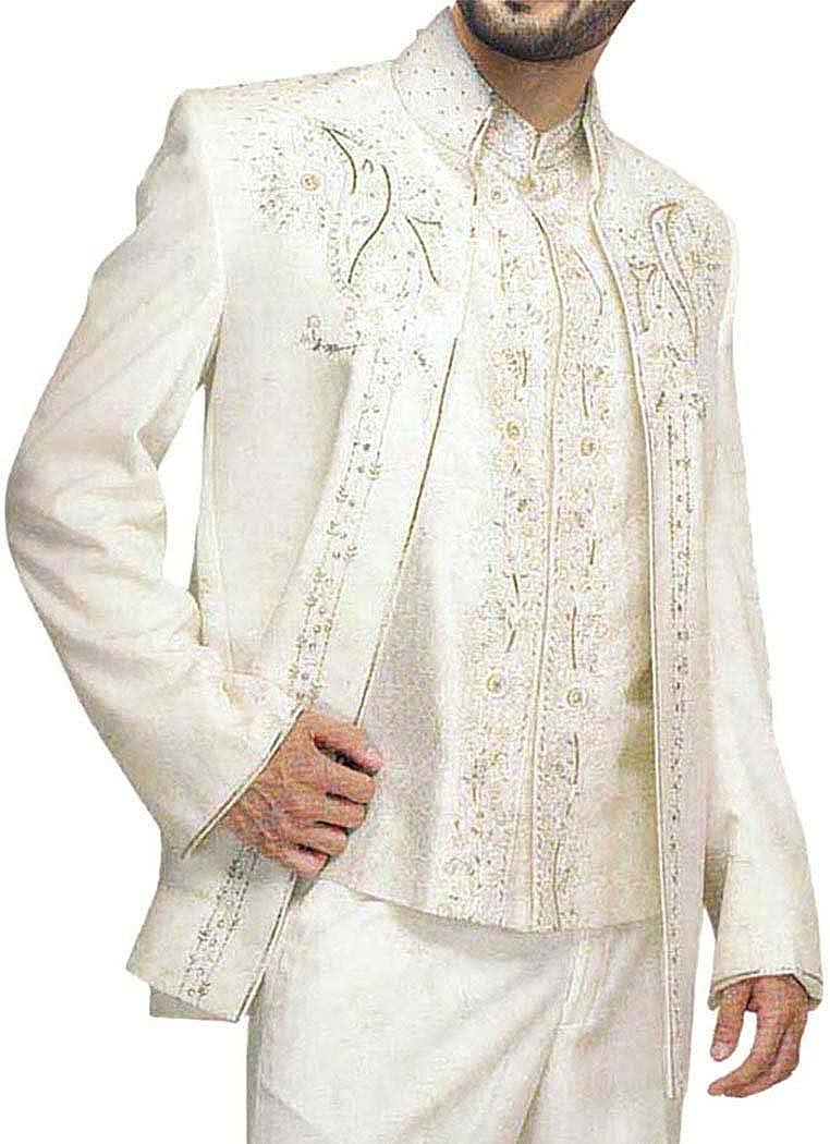 INMONARCH Mens Cream 3 Pc Jodhpuri Suit Hand Work JO0114