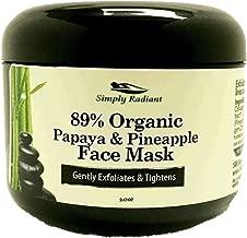 Organic Vegan Papaya and Pineapple Enzyme Face Mask 2 ounce – Hydrates, Tones, Moisturizes, Exfoliates & Rejuvenates – Ideal for Sensitive Facial Skin