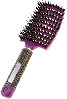 Perfeclan Curved Paddle Comb Scalp Massage Hair Brush Boar Bristle Hair Detangling - Purple