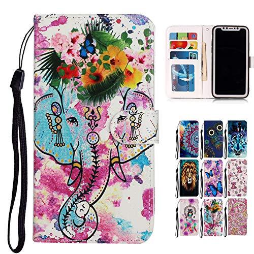 Rose-Otter Funda para teléfono móvil LG K51, de piel sintética, con tarjetero, plegable, diseño de elefante y flores