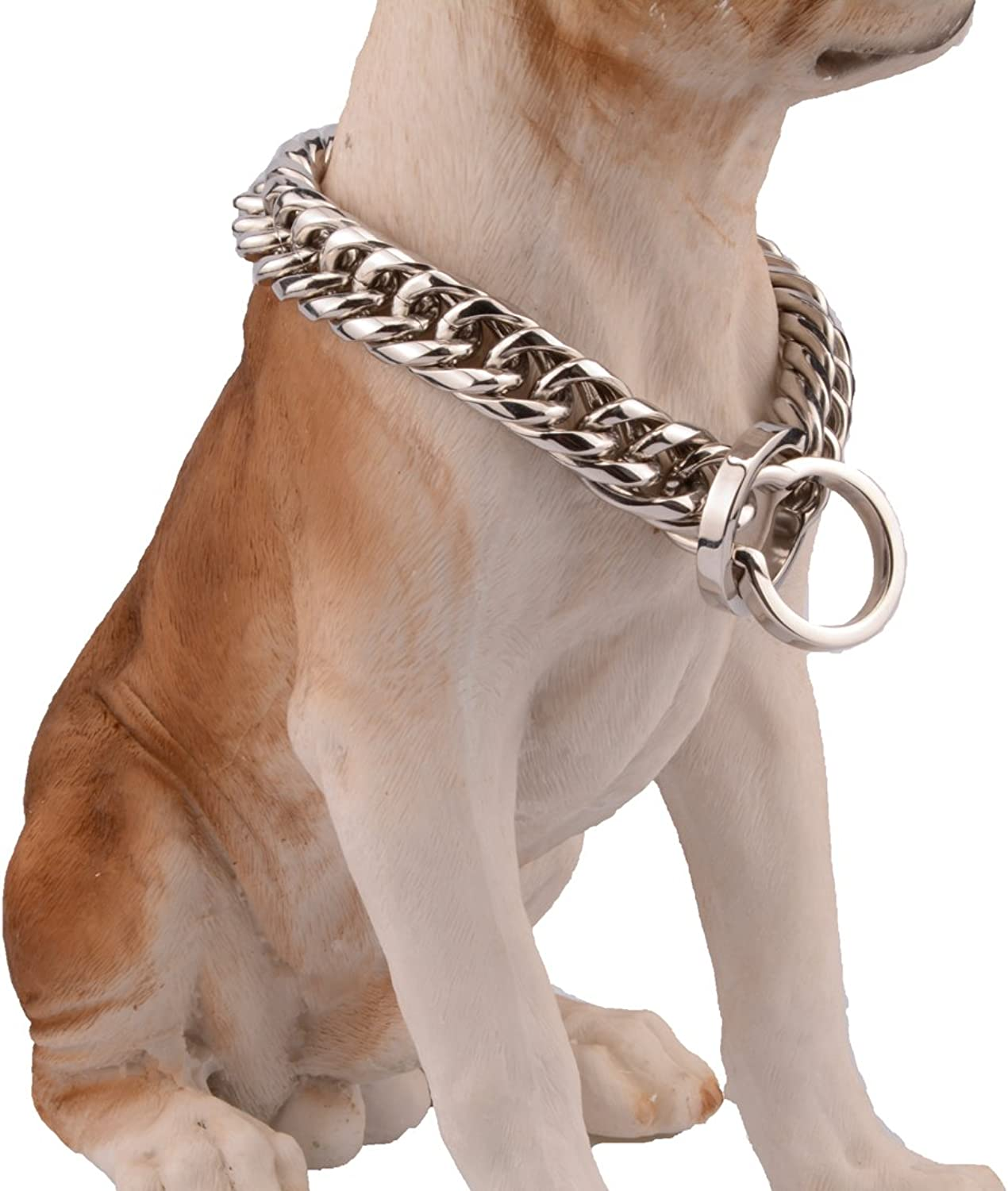 Jewelry Kingdom 1 16 18mm Wide Stainless Steel Curb Link Chain Pet Dog Choke Chain Collar Silver Tone Best Pit Bull, Mastiff, Pitbull,Bulldog, Big Breeds 1436inches (16mm Wide, 14inch)
