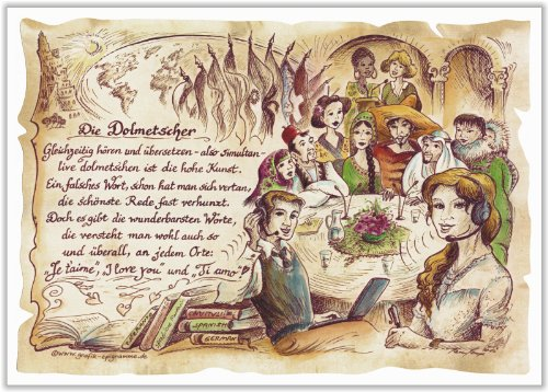 Geschenk Dolmetscher Übersetzer Zeichnung Color 20 x 15 cm