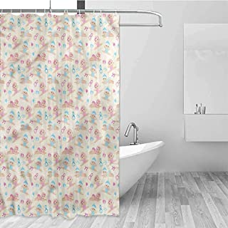 GloriaJohnson Baby Geometric Shower Curtain Brother and Sister Rattle for Kids Bathroom Guest Bathroom W72 x L72 Inch