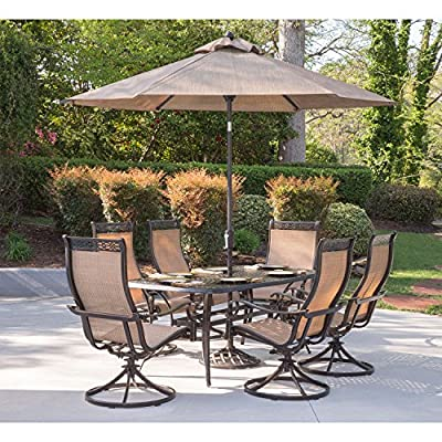 Hanover MANDN7PCSW-6-SU-P Manor 7 Piece 6 Swivel Rockers, Table, 9' Umbrella and Stand Outdoor Dining Set
