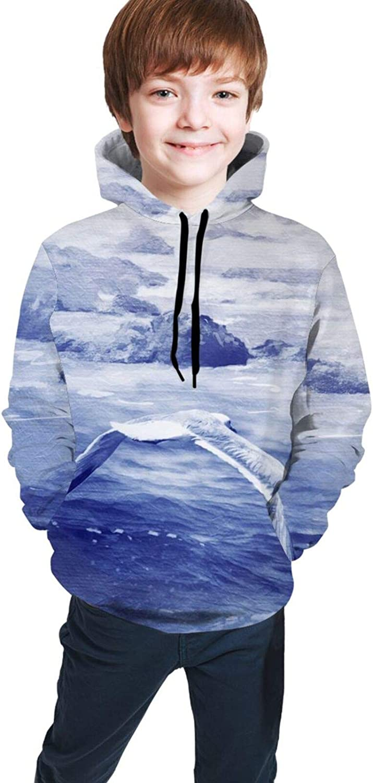 LINCHENC Boys Girls Hoodie, Seagull Unisex 3D Printing Teenager Sweatshirt Kids Children's Sweater for Age 7-20