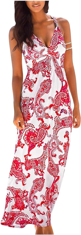 Sun Dresses Women Summer Ladies Slim Bohemian Resort Style Long Printed V-Neck Sleeveless Sling Dress Womens Dresses Red