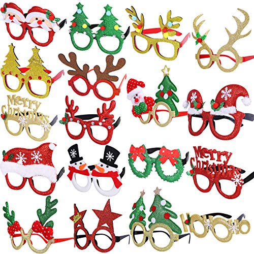 Max Fun 18Pcs Holiday Glasses Christmas Glitter Party Glasses Frames with 18 Designs for Christmas Parties, Holiday Favors, Photo Booth (One Size Fits All)