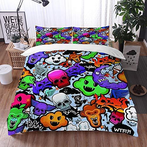 Qinniii 3-Piece Bedding Set,Scarabocchi stravaganti dei Personaggi Funky bizzarri del Fumetto dei Graffiti,100% Microfibra 1 Copripiumino 200 x 200 cm+ 2 Federa 60 * 80 cm
