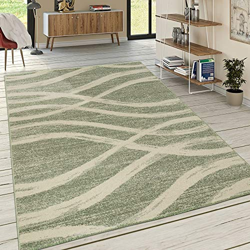 Designer Teppich Kurzflor Wellen Muster Pastelltöne Modern In Grün Creme, Grösse:200x290 cm