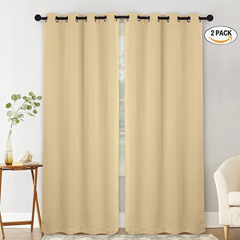 NANAN Blackout Curtains For Living Room Easy Care Solid Thermal Insulated Grommet Black Out Panels Drapes For Bedroom Window W52 X L63 Inch 2 Panels Taupe