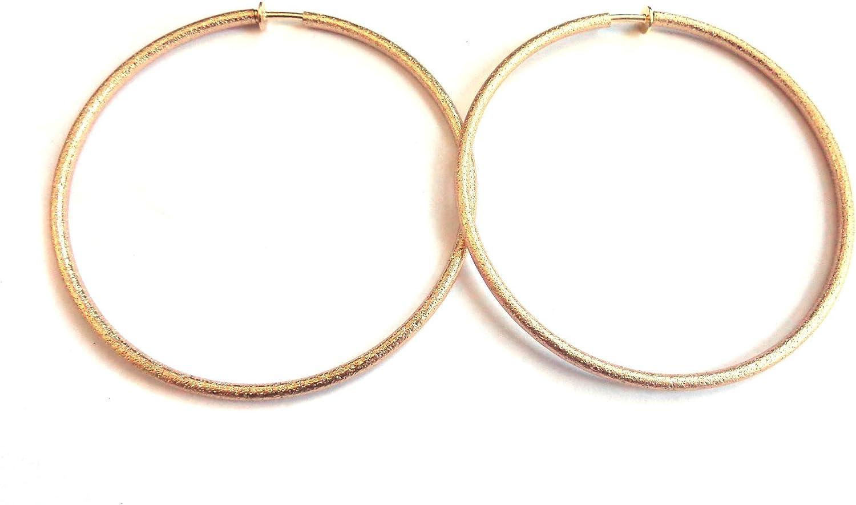 Clip-on Earrings Frosted Matte Gold Hoop Earrings 3 inch Hoop Hypo-Allergenic