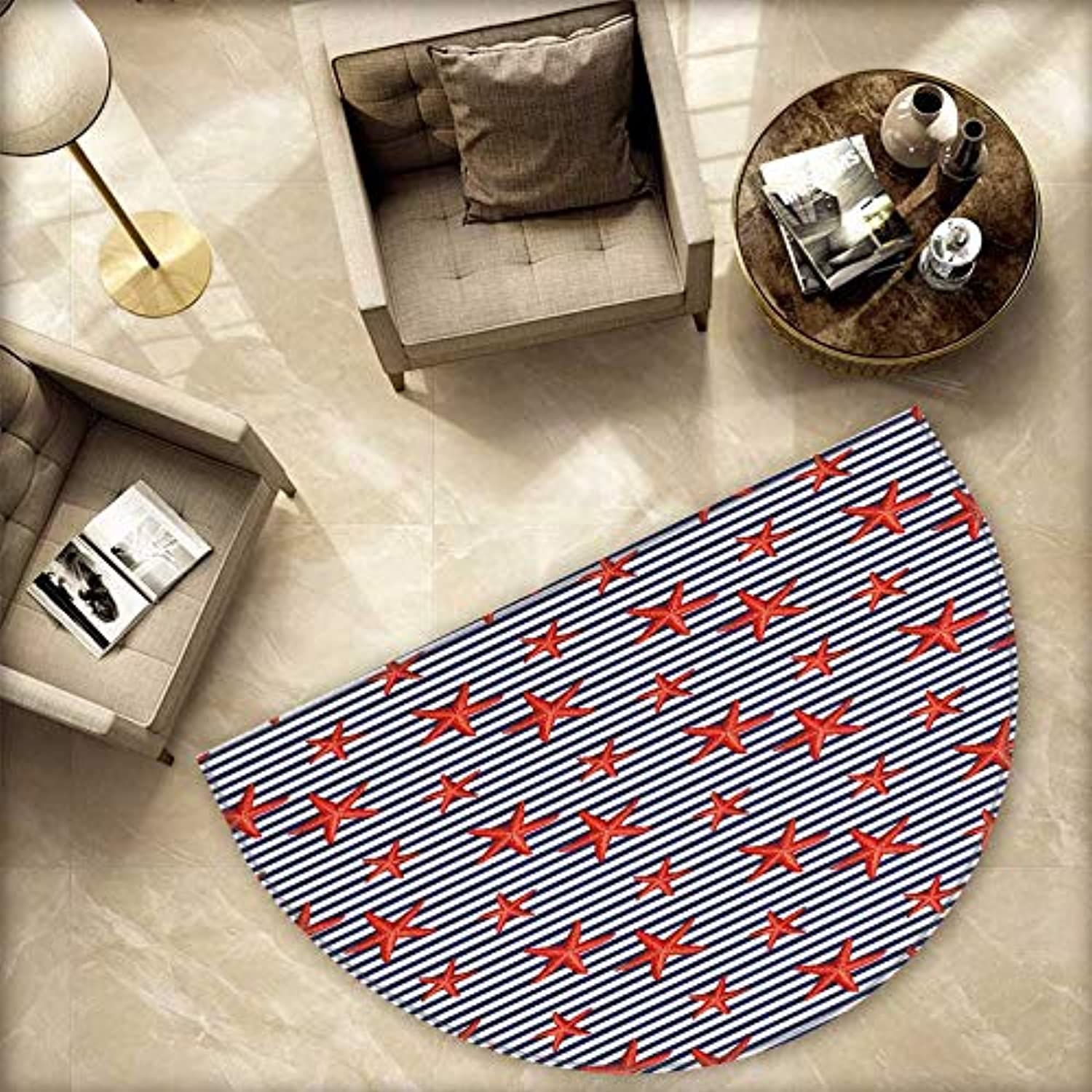 Starfish Semicircle Doormat Classical Striped Backdrop with Red colord Sea Stars Maritime Themed Pattern Halfmoon doormats H 78.7  xD 118.1  Navy White Red