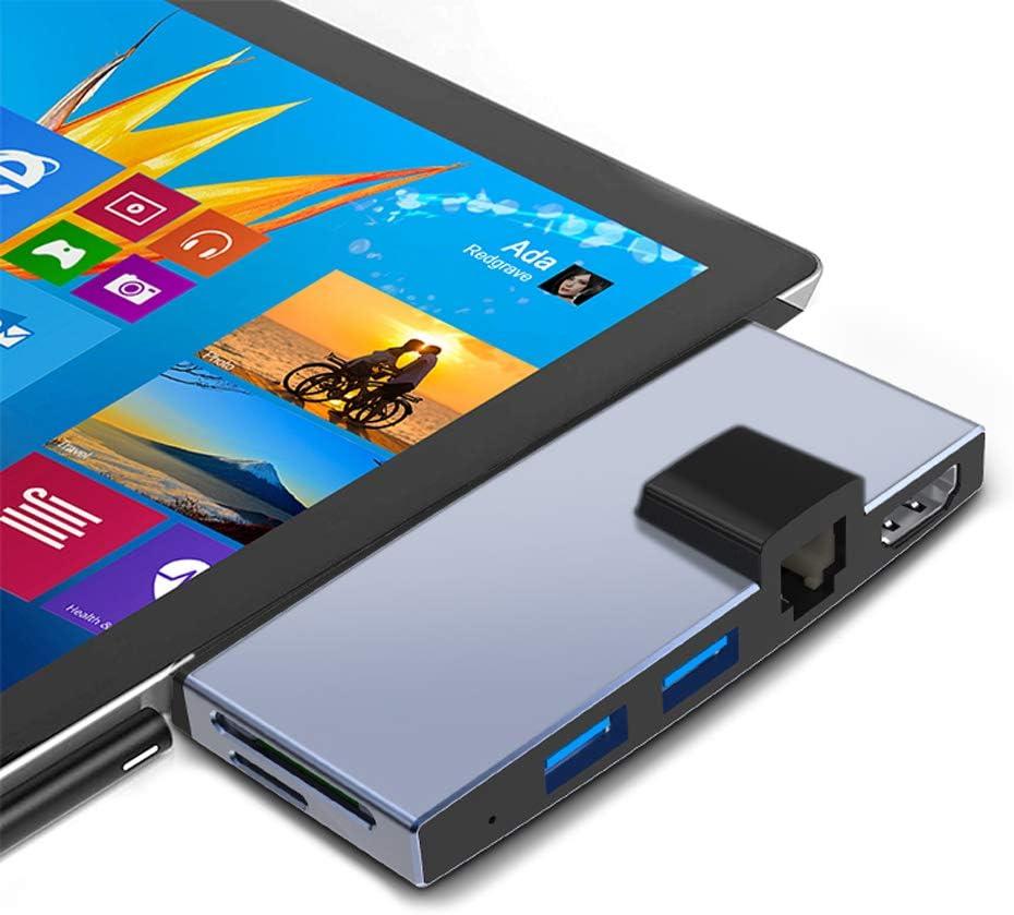 Surface Pro 4/5/6 Docking Staion USB 3.0 hub Surface pro HDMI Hub Adapter Converter RJ45 Gigabit Ethernet LAN Combo with 2 USB 3.0,TF & SD Card Slots