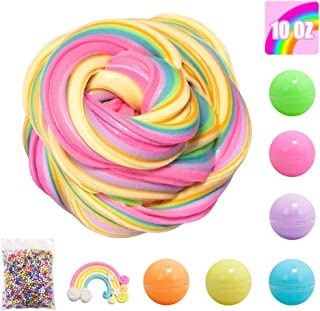 6 Colors Fluffy Slime Butter Slime Kit, Scented Slime Cotton mud, Super Soft and Non-Sticky Slime for Kids, Ideal Stress Relief Rainbow Slime for Girls Adults , Foam Balls Rainbow Charm included