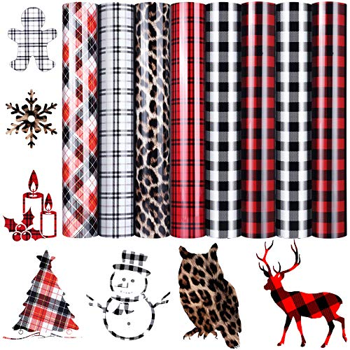 8 Pieces Christmas Buffalo Plaid Transfer Vinyls Leopard Print Iron-on HTV Sheets 12 x 10 Inch Assorted Transfer Lettering Film for DIY T-Shirts Bag Hats Crafts Supplies