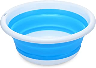 PER-HOME Multi-purpose Collapsible Dish Tub Bowl BPA-Free Round Lightweight Collapsible Wash Basin(Blue)
