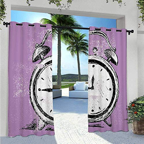 Adorise Indoor Outdoor Curtains Retro Alarm Clock Figure with Grunge Effects Classic Vintage Sleep Graphic Blackout Outdoor Curtain Drapes Protect You from Sun/Rain Purple White Black W120 x L84 Inch