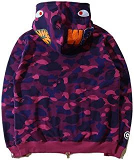 Bathing Ape Bape Shark Jaw Camo Full Zipper Hoodie Men's Sweats Coat Jacket