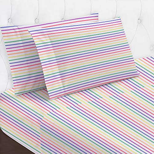 Durable 100% Cotton Twin XL Size Sheet Set| Soft Silky 400 Sateen, 3pc Rainbow Striped Bed Sheet Set with Snug Fitted Sheet, Best Bedding for Dorms & Kids