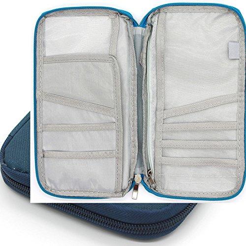 Organizador de documentos para viaje Q4travel. Resistente e impermeable. Portadocumentos, protector para pasaporte y cartera - Azul azul marino