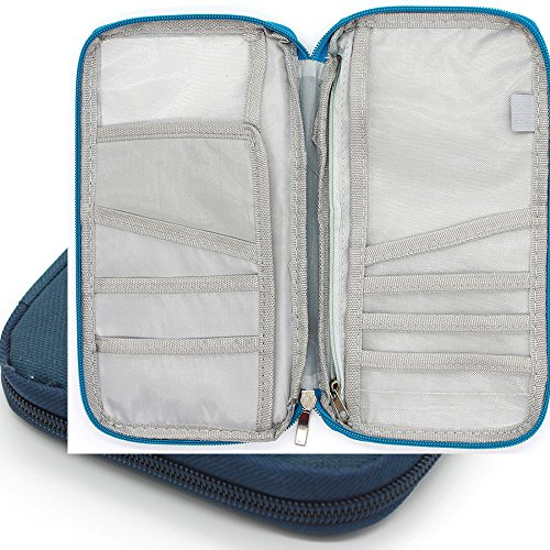 Forte impermeabile Portafoglio documento di viaggio e titolare del passaporto. Scelta dei colori (Blu navy)