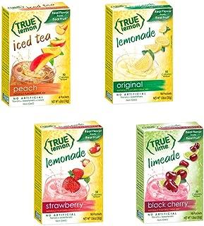 TRUE LEMON MIX VARIETY 4 pack : Lemonade Original, Lemonade Strawberry, Limeade Black Cherry, Lemon Peach Tea. Natural Flavors. Non-GMO. No Artificial Sweeteners or Preservatives. Bonus 5 Paper Straws