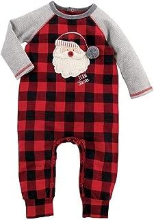 Mud Pie Kids Baby Boys Buffalo Check Santa Alpine Village Christmas 1 Pc Set