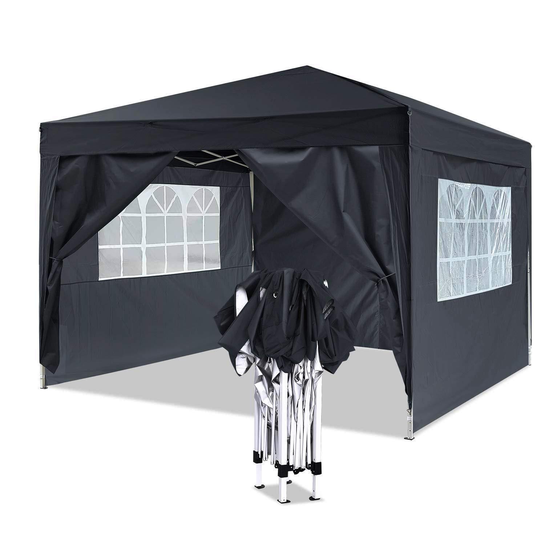 YUEBO Gazebo 3x3 m Carpas Plegables Impermeables Pergola Plegable Cenador Camping Cenadores para Jardin, Playa, terraza (3x3m Negro): Amazon.es: Jardín