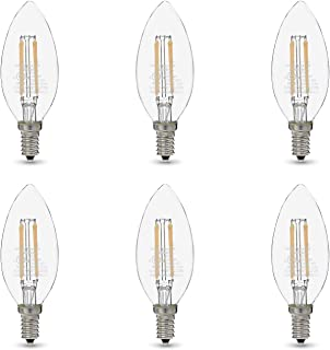 AmazonBasics 60W Equivalent, Clear, Soft White, Dimmable, 15,000 Hour Lifetime, B11 (E12 Candelabra Base) LED Light Bulb | 6-Pack