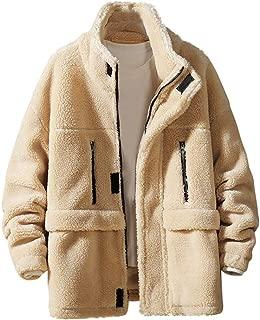 Lamb Woolen Coat Men's Autumn Winter Casual Letter Printing Cotton-Padded Jacket Zipper Coat