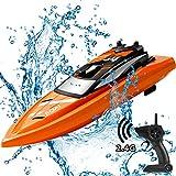 GizmoVine Barca da Telecomando 2.4 GHz RC Barca da Regata ad Alta velocità per Giochi d'Acqua per Bambini e Adulti