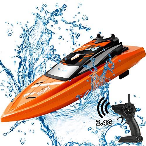 GizmoVine Ferngesteuertes Boot 2,4 GHZ RC Boot Hoch Geschwindigkeits Rennboot Sommer Wasserspielzeug für Kinder und Erwachsene (orange Boot)