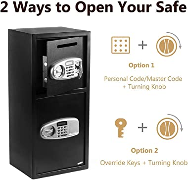 Extra-Large Security Safe Fireproof Waterproof Safe with Separate Keypad and Emergency Keys, 2.4 Cubic Feet Double Door Burgl