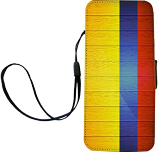 Rikki Knight Colombia Flag on Distressed Wood Flip Wallet iPhoneCase with Magnetic Flap for iPhone 5/5s - Colombia Flag on Distressed Wood