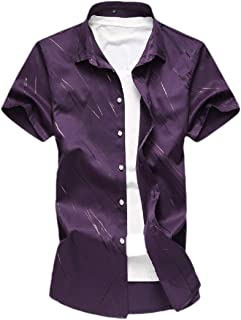 Mogogo Mens Business Point Collar Plus Size Floral Print Button Dress Shirt