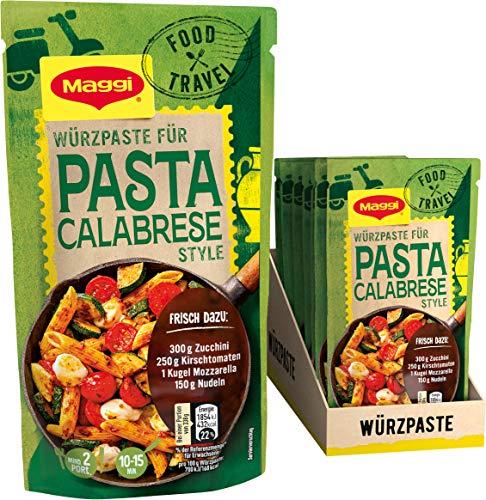 Maggi Food Travel Würzpaste Pasta Calabrese Style (Ohne Konservierungsstoffe, Vegetarisch), 10er Pack (10 x 65g)