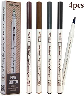 4PCS Eyebrow Tattoo Pen- Waterproof Microblading Eyebrow Pencil with a Micro-Fork Tip Applicator Creates Natural Looking Brows Effortlessly