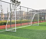Pass Premier 12 X 6 Ft. Youth Size Steel Soccer Goal. 2' Diameter Strongest Steel Frame w/Durable 4mm Net, Ground Stakes, Elastic Clasp & Re-Usable Ties. 12x6 Ft. Practice Aid.(1Net)